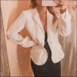 J. Crew linen white frayed hem blazer